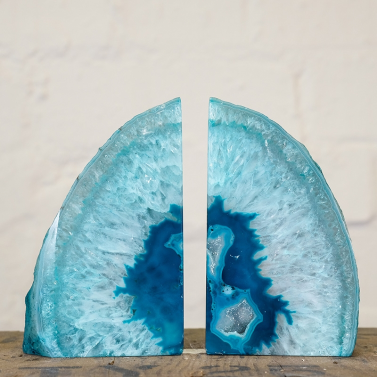 Large Turquoise Agate Geode Bookends