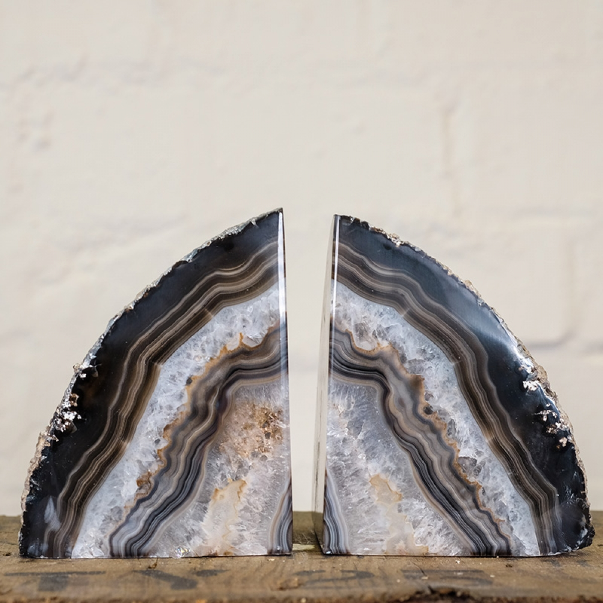 Minibeast Large Black Agate Geode Bookends